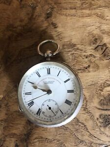 Rare Antique Sterling Silver The Express English Lever Pocket Watch Sheffield