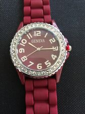 Women Geneva Watch Red Rubber Band Silver Bezel Crystal Accent Easy Read 5573