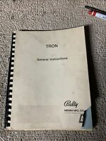 original     TRON BALLY MIDWAY   arcade video game manual