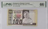 Madagascar 100 Francs 20 Ariary ND 1974 P 63 GEM UNC PMG 66 EPQ
