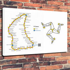 "Isle Of Man TT Course Printed Canvas Picture A1.30""x20"" 30mm Deep Road Racing"