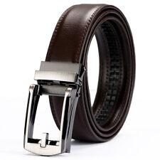 "Fahion Brown Leather Belt For Men Silver Automatic Belt Buckles Waist Dress 46"""