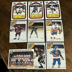 1978-79 o-pee-chee  new york islanders  16 card team set/lot. marked checklist