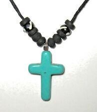 CROSS PENDANT ADJUST BLACK CORD NECKLACE BLUE STONE BEADS CRUZIFIX men women NEW