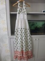 VINTAGE 1970's ANGELA GORE HALTERNECK MAXI SUMMER DRESS - WHITE FLORAL - SMALL