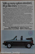1984 VOLKSWAGEN CONVERTIBLE advertisement, VW Wolfsburg Convertible