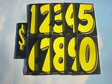 "~Free Shipping CAR DEALER 11 doz 7.5"" VINYL WINDOW STICKER NUMBERS yellow/black"