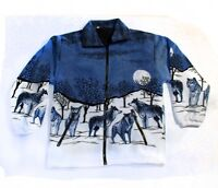 NEW SNOW WOLF BLUE UNISEX FLEECE S,M,L,XL,XXL ANIMAL JACKET MENS  LADIES WOLVES