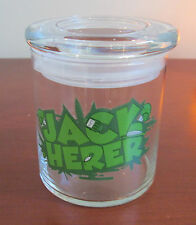 "Rare 4.50"" Glass Herb Stash  Jar Jack Herer Green  Flat Pop Top With Lid"