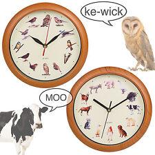 Yard Animal Print Wall Clock Musical Sounds Battery Operated Kitchen Kids Design