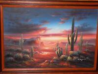 "Signed B. Duggan Original Oil Painting Large 24"" X 36"" Desert Sunset"