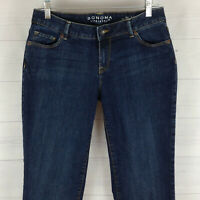 SONOMA womens size 6 LONG stretch blue dark wash mid rise curvy straight jeans
