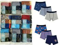New Mothercare Boys Striped / Plain Blue Cotton 3 Pack Underpants Boxers Trunks