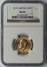 1912 Great Britain Gold 1 Sovereign 1SOV MS 64 NGC