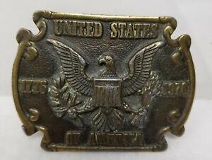 Antique Style Modern Pot Metal Bronze Imitation Bicentennial Belt Buckle As Is
