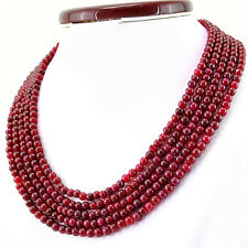 Amazing 5 Strand 553.50 Cts Earth Mined Red Ruby Round Shape Beads Necklace