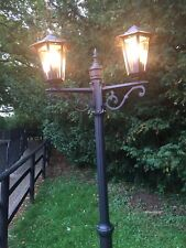 2m Tall Outdoor Traditional Victorian Double Garden Lighting Lamp Post in Black