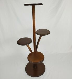 Vintage Plant Stand Walnut Wood 4 Tiered Collectible Display Mid-Century Modern