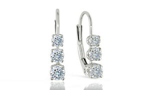 925 Sterling Silver 3.00 ct. Round 6mm CZ Leverback Earrings White  Leverback