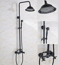 Wall Mount Black Oil Rubbed Bronze Bathroom 8 inch Rainfall Shower Faucet Set