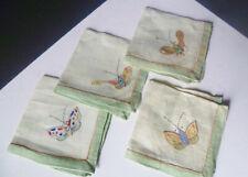 Four Small Linen Napkins - Vintage - Butterflies - Japanese
