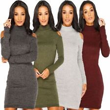 Ladies Womens HIGH Neck Turtle Knitted COLD CUT OUT Shoulder Dress TOP JUMPER