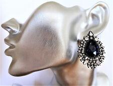 Beautiful Sapphire Blue Crystal Cluster Stud Earrings in Dark Silver