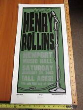 2003 Rock Roll Concert Poster Henry Rollins Martin SN LE# 100 Newport