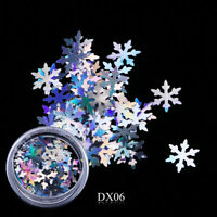 Nail Art Glitter Holographic Spangles Sequins Christmas Snowflakes Silver (DX06)