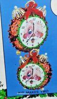 Walco Holiday CHRISTMAS CLOCK RARE Vintage Sequin Bead Ornament Craft Kit NOS