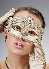 Costume Lace Mardi Gras Masquerade Mask Embellished with Gems for Women [Ivory]