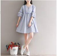 VINTAGE Japanese Mori Girl Sweet Girls Half Sleeve V-neck Dresses Tassel Lolita