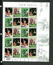 Us #3399-3402 Mnh, Youth Team Sports Sheet, Fv $6.60 (2000)