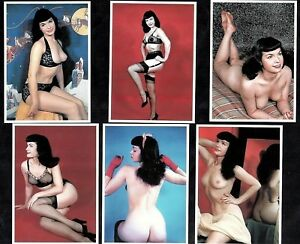 Bettie Page In Colour Postcard Set Pin-Up Girl Nylon Stockings Erotic Betty Sexy