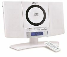 Denver MC-5220 White Micro Mini wall mountable stereo CD Player AUX IN FM radio