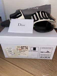 Christian Dior  Women's Slider Sandals Size 36.5 EUR / 6.5 USA Black/Off White
