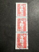FRANCE 1991 timbre ROULETTE 2719 MARIANNE en bande de 3 exemplaires, oblitéré