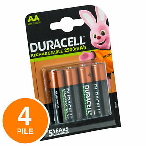 4 Batterie Ricaricabili DURACELL Rechargeable Pile Stilo AA Precaricate 2500 mAh