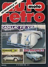 AUTO RETRO n°67 MARS 1986 CADILLAC V12/V16 PANHARD CD ALFA GIULETTA Ti