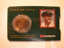 1996 $5 Bimetal Sir Donald Bradman RAM Carded Coin.