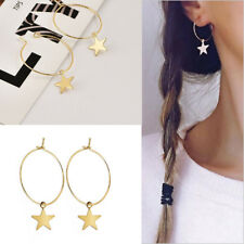 Fashion Womens Boho Simple Large Circle Star Hoop Earrings Jewelry Party Hot