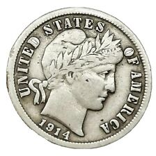 USA 1914  Barber Dime Silver.900 Scarce Coin