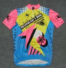 vintage GIORDANA + ISLAND TRIATHLON & BIKE HAWAII 1/4 ZIP Cycling sz L Jersey