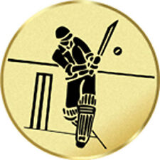 CRICKET SET OF 24 PRINTED TROPHY MEDAL INSERTS FLAT OR DOMED 25mm 3 COLOURS