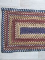 VINTAGE 2' X 9' BRAIDED RUNNER RUG COUNTRY PRIMITIVE RECTANGLE SQUARE
