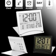 LCD Digital Folding Desk Travel Alarm Clock With Thermometer Date Calendar Time