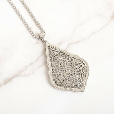 NEW Kendra Scott Aiden Silver Long Pendant Necklace In Silver Filigree Mix