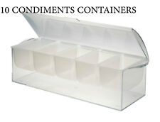 10 Ice Chilled Condiment 5 compartment Salad Catering Restaurant Bulk