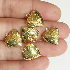 10  Gold plated Heart Locket Pendant 13x15mm, puff heart locket with flower