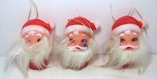 3 Vintage Christmas Bearded Santa Claus Mini-Light Bulb Cover Vinyl Japan EUC